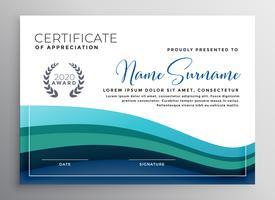 modèle de certificat d'appréciation élégant vague bleue