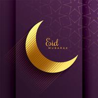 lua dourada para o festival eid mubarak