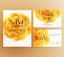 save the date wedding invitation template design with bright yel
