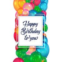 färgglada ballonger bakgrund för grattis på födelsedagen