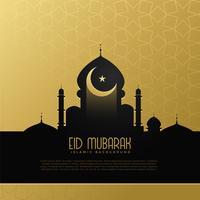Diseño de concepto eid mubarak con mezquita y luna.