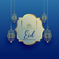 eid mubarak festival background with hanging lantern