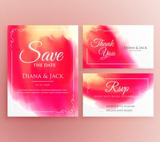 abstract watercolor wedding invitation card set