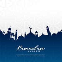 ramadan kareem greeting design with mosque silhouette