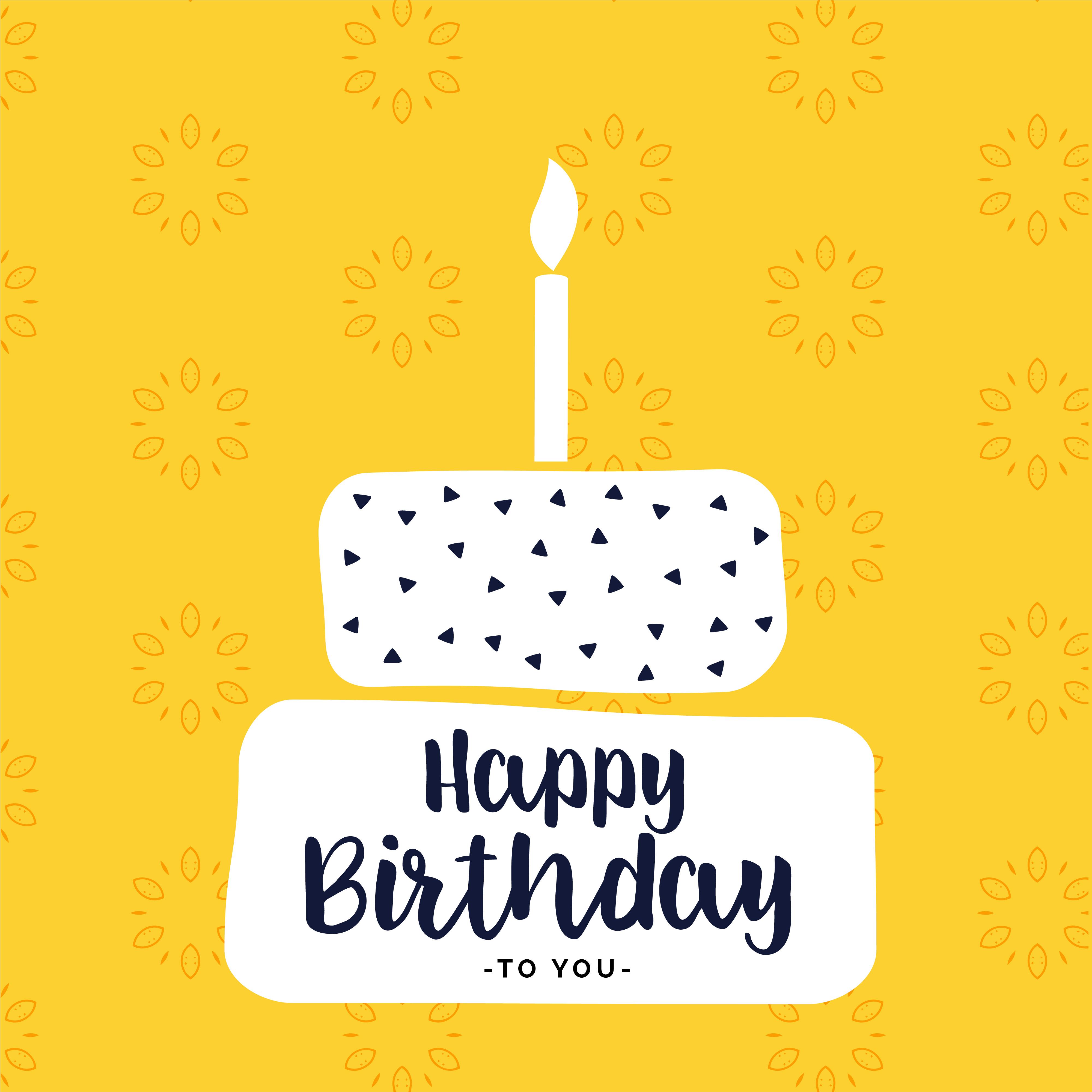 Happy Bithday Card Design With Flat White Cake Shape Telechargez