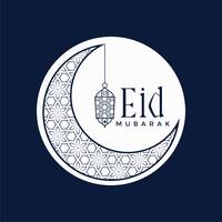 Diseño elegante del festival eid mubarak con luna y lámpara.