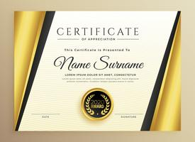Certificado de diseño de plantillas premium con formas doradas.
