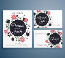 Suite de invitación de boda con decoración de flores.