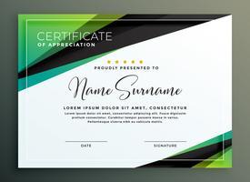 Diseño de plantillas de certificados en formas geométricas negras verdes.