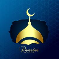 shiny golden mosque design for ramadan kareem background