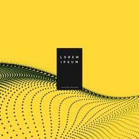 fondo amarillo con onda de malla de partículas
