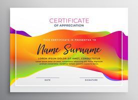 modelo de design de certificado colorido criativo