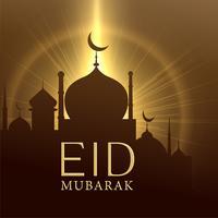 moské med glödande ljus, eid mubarak hälsning