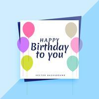 élégant design de carte de joyeux anniversaire avec des ballons colorés