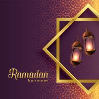 hängande lampor inuti islamisk form för ramadan kareem säsong
