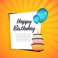 grattis på födelsedagen hälsningskort med tårta och ballonger