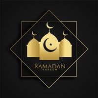 Ramadán kareem saludo islámico con silueta de mezquita