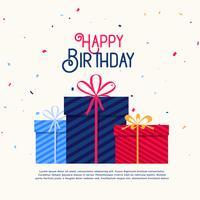 caixas de presente de feliz aniversário com confetes caindo