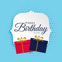 Fondo feliz cumpleaños con cajas de regalos