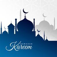 ramadan kareem bakgrund med blå moské silhuett