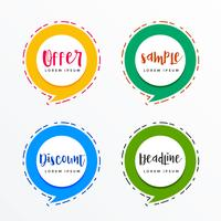 Banners promocionales en estilo burbuja de chat en venta y ofertas.