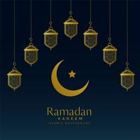 lua dourada e lanternas de suspensão para o fundo de ramadan kareem