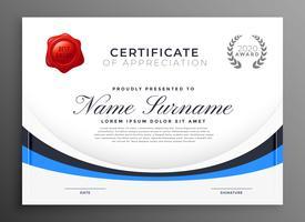 certifikat mall design med blå våg