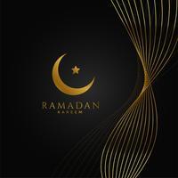 Fondo de Ramadán Kareem con líneas onduladas doradas