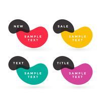 färgglada textetiketter vektor design