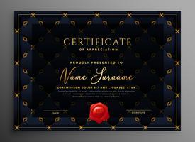 diseño de plantilla de certificado de lujo oscuro