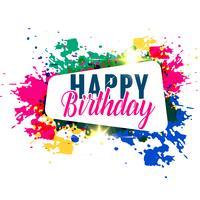abstrakt färgstarkt splash grattis på födelsedagen hälsning design