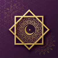 Decoración de símbolo islámico con luna creciente para el festival eid