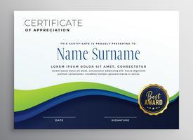 Certificae-Template-Design mit blau grüner Welle