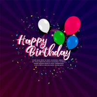 banner de celebración de cumpleaños feliz con globos y confeti