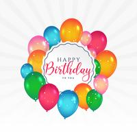 cartão de feliz aniversário com balões coloridos