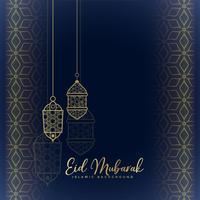 eid mubarak hälsning med hängande lyktor