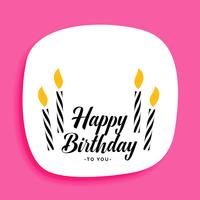 design de cartão de feliz aniversário com velas e espaço de texto