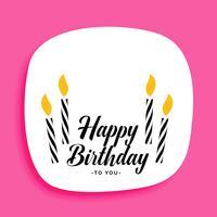 gelukkige verjaardagskaart ontwerp met kaarsen en tekst ruimte