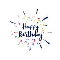 rotulação de feliz aniversário com confete