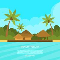 Ilustração em vetor Flat Beach Resort