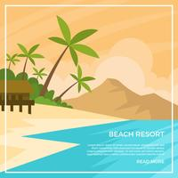 Illustration vectorielle de plage plate Resort