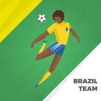 Flacher brasilianischer Fußball-Charakter-Vektor