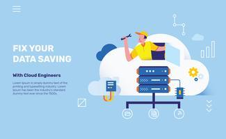 Ingenieros de la nube para la ilustración del vector del servidor de ahorro de datos