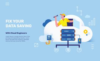 Cloud Engineers for Data Saving Server Vector Illustration