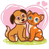 Puppies and Kittens vector