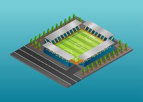 Isométrico, fútbol, estadio, vector