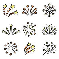Set Of Outlined Fireworks