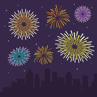 Flat Fireworks Vector Illustration