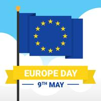 Happy Europe Day Flag Vector Template