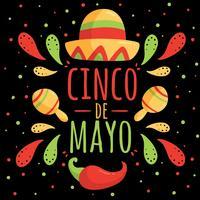 Cinco De Mayo op zwarte Vector